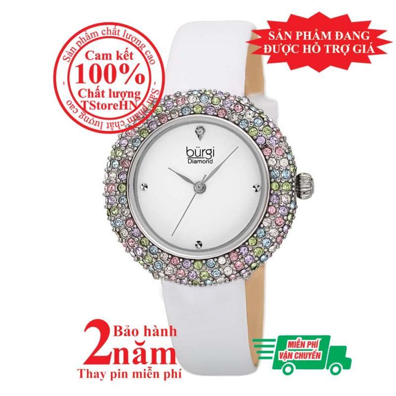Đồng hồ nữ BURGI BUR227WT, Vỏ bạc (Silver), mặt Trắng (White), nạm pha lê Swarovski cao cấp, dây da trắng (White) , size 33mm- Item no: BUR227WT