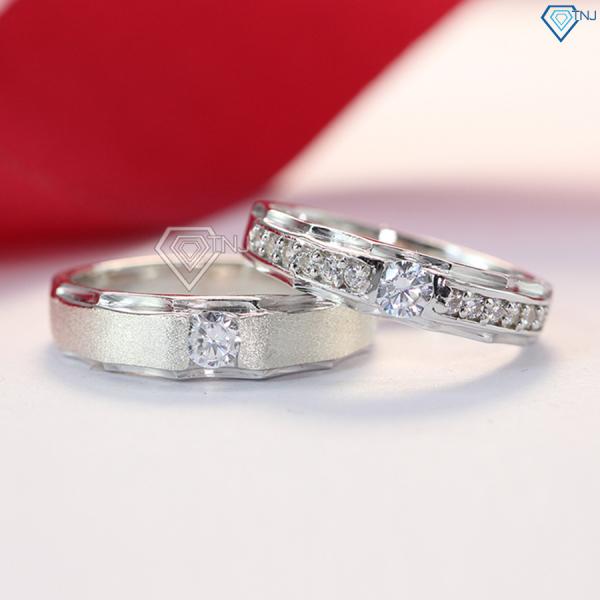 Nhẫn đôi bạc đẹp đính đá, nhẫn cặp tình nhân khắc tên ND0176 - Trang Sức TNJ