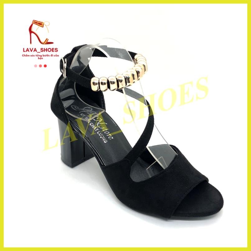 Giày Cao Gót, Giày Nữ 7p Da Lộn Vòng Cổ Hạt Vuông LAVA LZ001 Thiết Kế Sang Trọng, Điệu Đà, Trẻ Trung, Hợp Trend 2021 giá rẻ