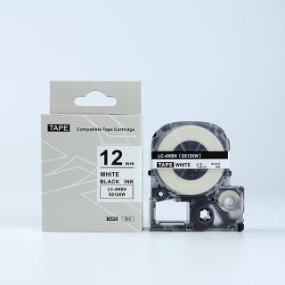 Tape nhãn in SS12KW (LC-4WBN) tương thích máy in nhãn KingJim SR & EPSON LW - Nhãn in chữ đen nền trắng 12mm thumbnail