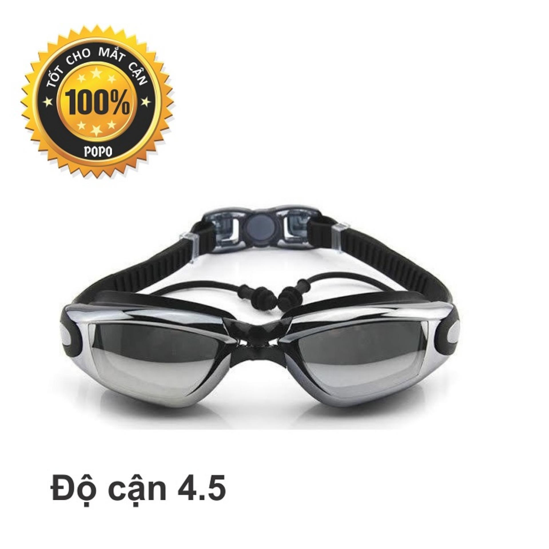 Kính bơi cận 1940 Đen có gắn nút bịt tai ngăn nước độ cận từ 1.5 độ đến 8.0 độ; mắt kính chống tia UV, kiểu dáng thời trang