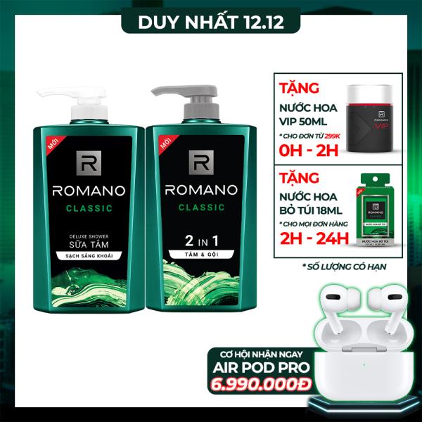 [Follow Shop -10k] Combo Tắm gội 2in1 & Sữa tắm Romano Classic cổ điển lịch lãm 650gr*2 giá rẻ