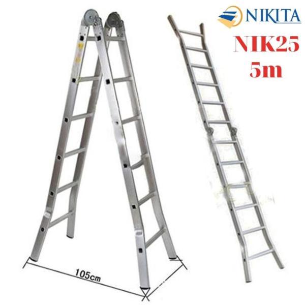 Thang nhôm gấp khóa sập tự động (chữ A:2,5m chữ I: 5m) Nikita Nhật Bản NIK-25