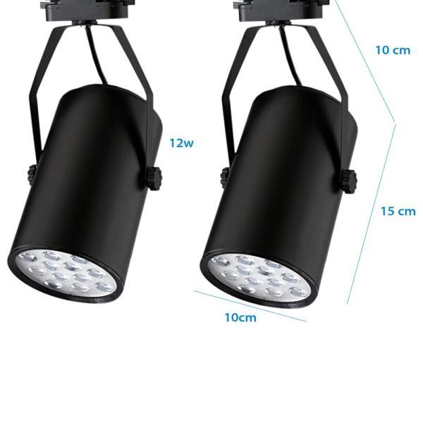 Bộ 10 đèn led rọi thanh ray 12w vỏ đen ánh sáng trắng  và 2 thanh ray 1 mét đen