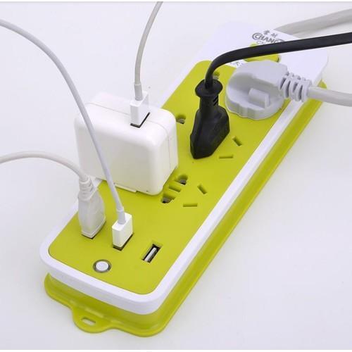 Ổ Cắm Điện 6 Phích Cắm Tích Hợp 3 Cổng Sạc USB 2A Chống Giật Đa Năng Thông Minh Siêu Tiện Lợi Giá Rẻ