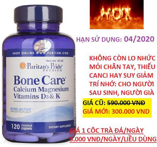 HÀNG SALES GIÁ SHOCK Viên uống bổ sung Canxi, vitamin D, K, Magie giúp xương chắc khỏe, chống giảm trí nhớ, run tay Puritan's Pride Bone Care 120 viên HSD tháng 04/2020