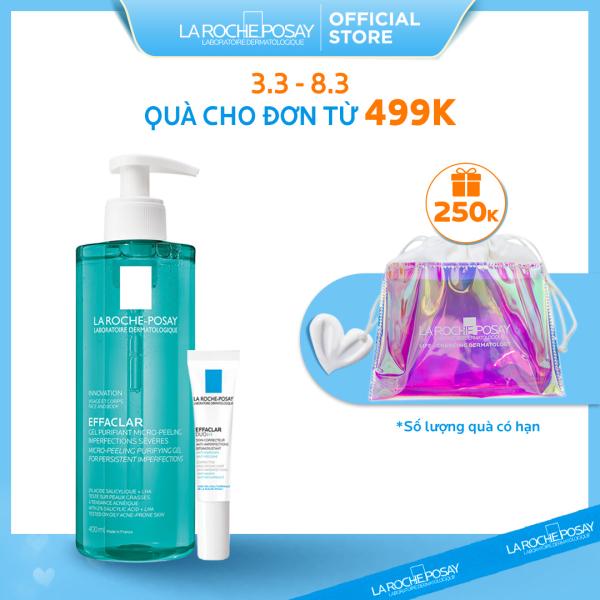 Bộ Gel rửa mặt và tắm giúp làm sạch bã nhờn, giảm mụn & thâm sẹo La Roche-Posay Effaclar Micro-Peeling Purifying Gel cao cấp