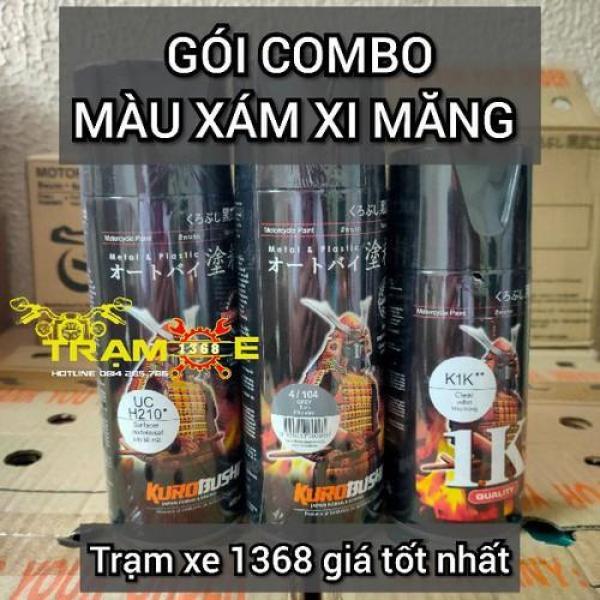 SƠN SAMURAI COMBO SƠN MÀU XÁM XI MĂNG GỒM 3 CHAI - Trạm Xe 1368 dễ dàng sử dụng dành cho mọi dòng xe