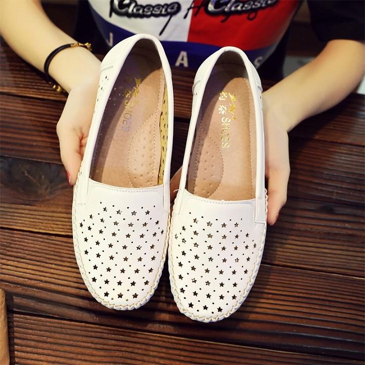 Giày lười nữ , Giày mọi nữ thời trang cao cấp HỌA TIẾT NGÔI SAO