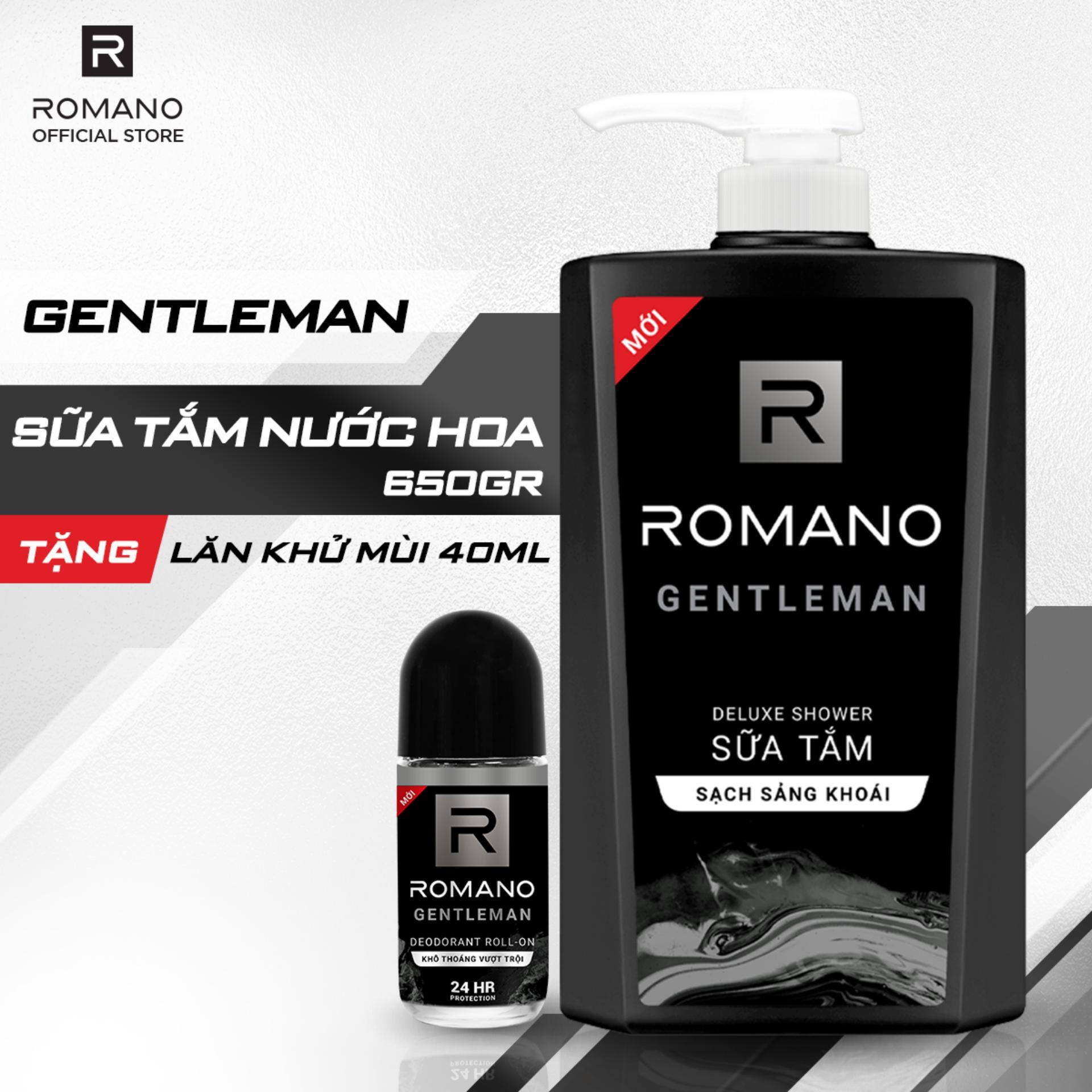 Giá Quá Tốt Để Có [Tặng Lăn Khử Mùi Romano Gentleman 40ml] Sữa Tắm Romano Gentleman 650g