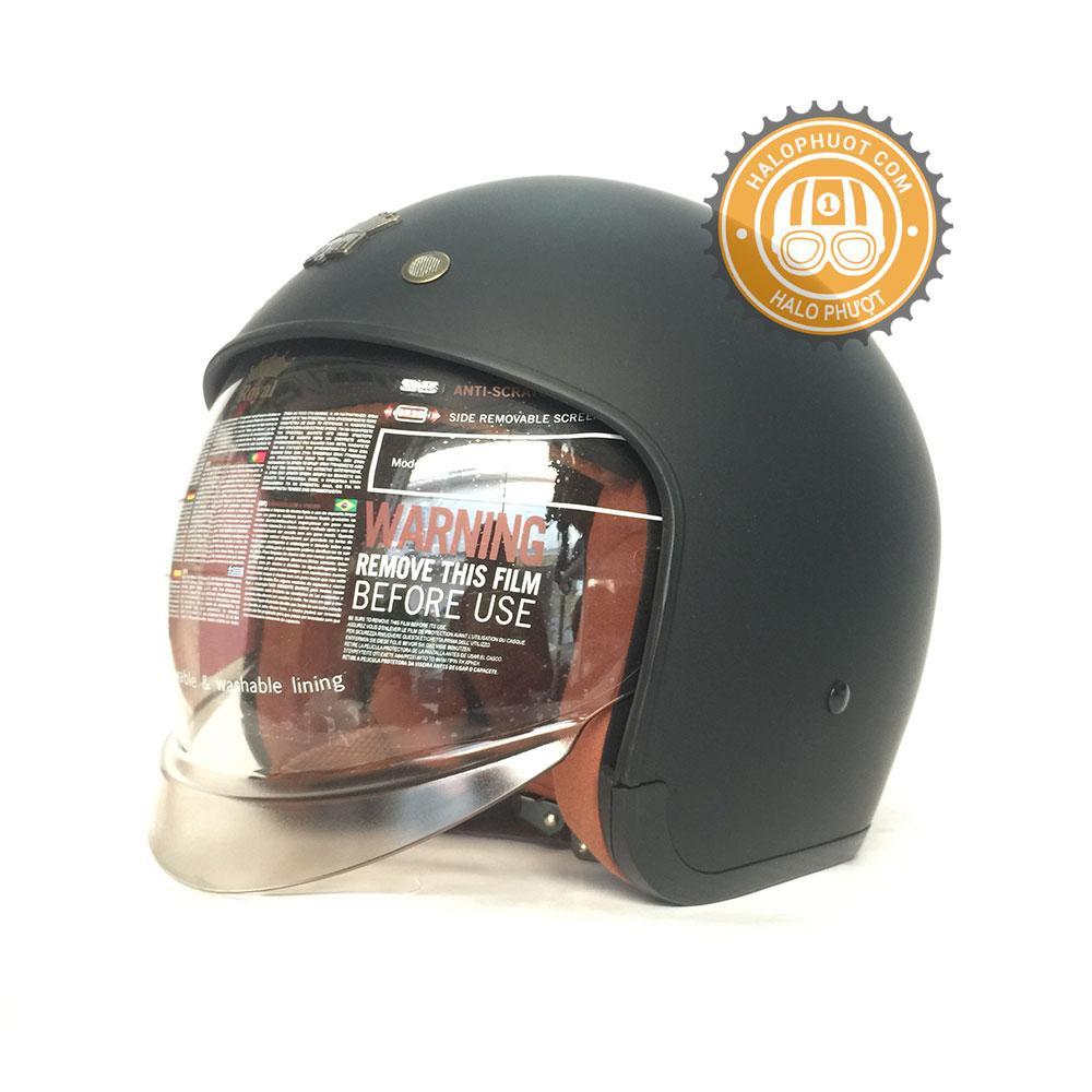 Nón bảo hiểm 3/4 kính âm Royal M139 Đen nhám (kính khói) (Tặng balo rút) Nhật Bản