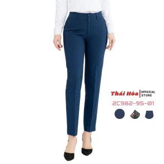 Quần tây nữ Thái Hoà 2C982-95-01, quần âu nữ công sở 9 tấc, màu cổ vịt xanh, chất liệu mềm ,trơn thumbnail