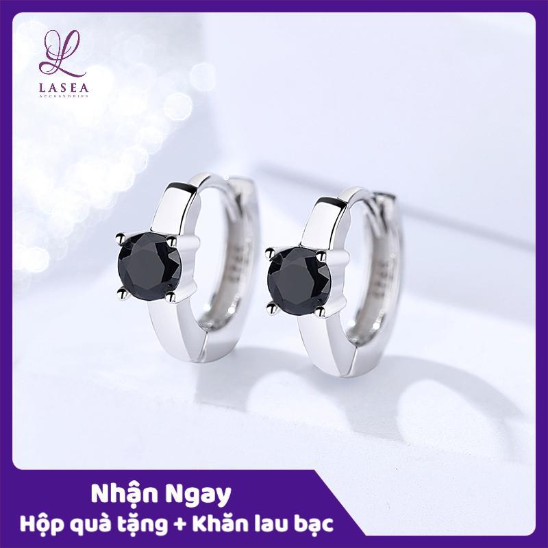 Bông tai nữ trang sức bạc Ý S925 Lasea - Hoa tai zircon đá đen cao cấp E1656