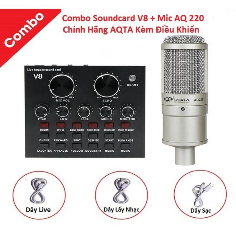 Combo Soundcard V8 Bluetooth + Mic AQ 220 Livetream Karaoke, Cả Bộ Chính Hãng AQTA Có AutoTune Chuẩn Phòng Thu