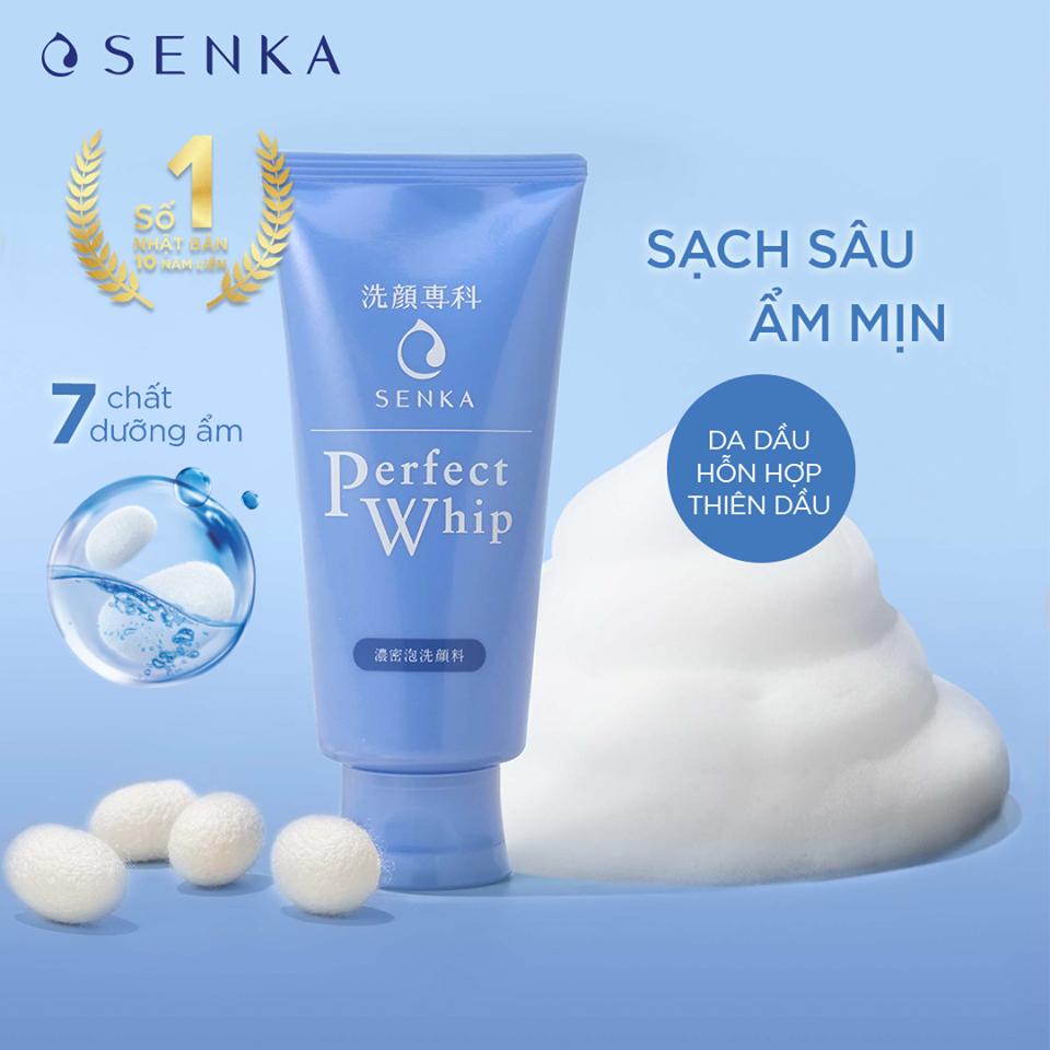 Sữa rửa mặt sạch hoàn hảo ẩm mịn tự nhiên với bọt tơ tằm trắng Senka Perfect Whip 120g