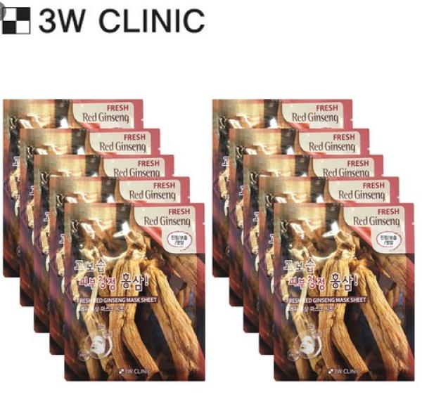 Bộ 10 gói mặt nạ chiết xuất nhân sâm 3W Clinic Fresh GinSeng Mask Sheet 23ml X 10