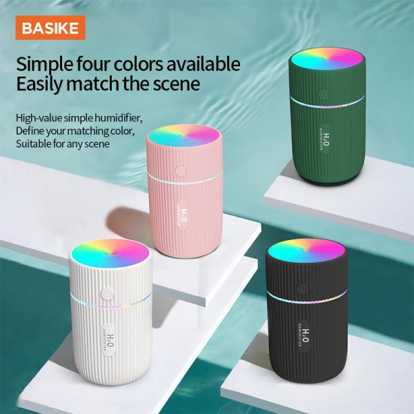 BASIKE Máy tạo ẩm / Máy phun sương mini Cát đèn led 7 màu siêu đẹp 2 chế độ tạo ẩm không gây ồn có cổng USB chức năng tự tắt khi hết nước tạo ẩm hạt siêu nhỏ không sợ ướt bàn nhỏ gọn tiện nghi dễ dàng mang theo(JSQ06)