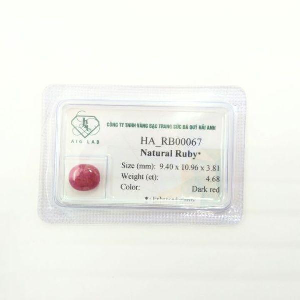 Mặt đá Ruby tự nhiên - 4.68ct - Viên rời - Ép vỉ niêm phong - HA-RB00067