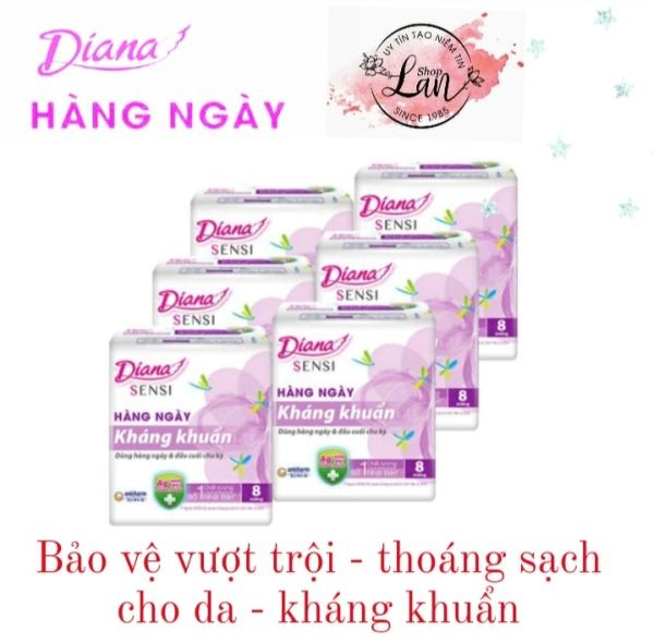 Combo 6 gói băng vệ sinh Diana Sensi hàng ngày kháng khuẩn 8 miếng/gói
