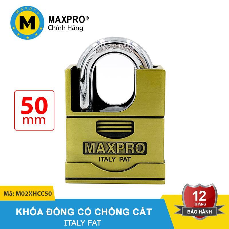 Ổ Khóa Chống Cắt Chìa Xe Hơi MAXPRO Vàng Đồng Cổ 50mm - M02XHCC50