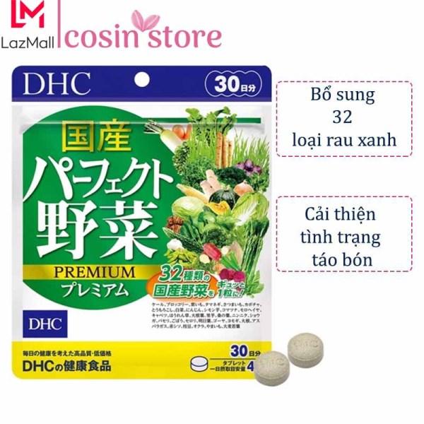 Viên uống rau củ DHC Perfect Vegetable gói 30 ngày dùng 120 viên của Nhật - Bổ sung lợi khuẩn và chất xơ