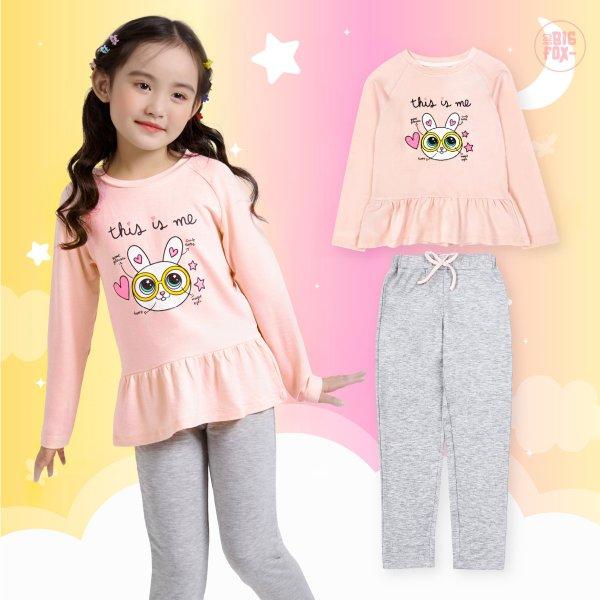 Giá bán Bộ bé gái BIGFOX - MISS MEOW thu đông  size đại, bộ dài tay cho bé phong cách Hàn Quốc hình in thỏ đeo kính 11 - 38 kg