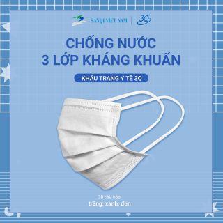 [Chính hãng] Hộp 50 chiếc khẩu trang y tế 3 lớp kháng khuẩn ( Màu trắng )- Khẩu trang 3Q chuẩn xuất khẩu thumbnail