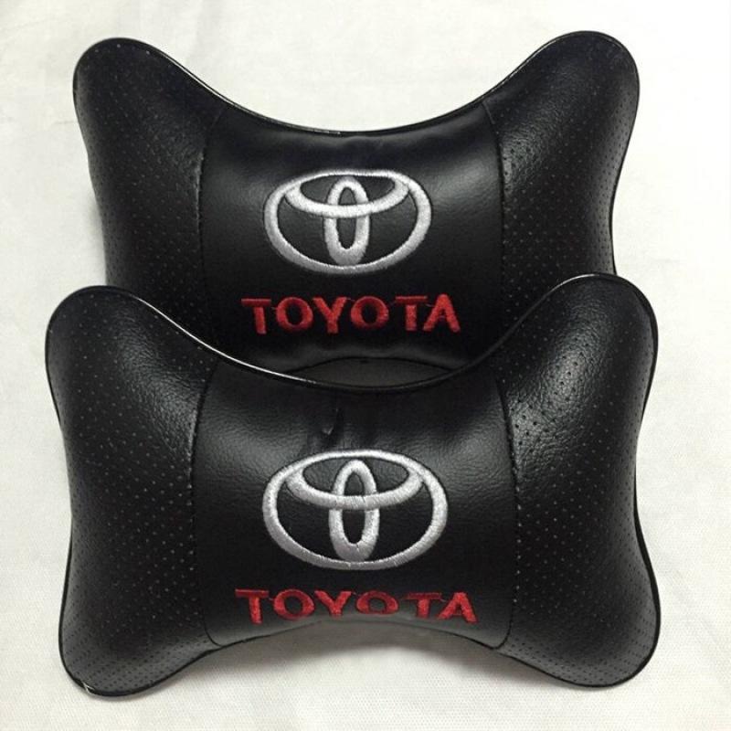 Gối tựa đầu màu đen cho xe Toyota, chất liệu da mềm mại, êm ái