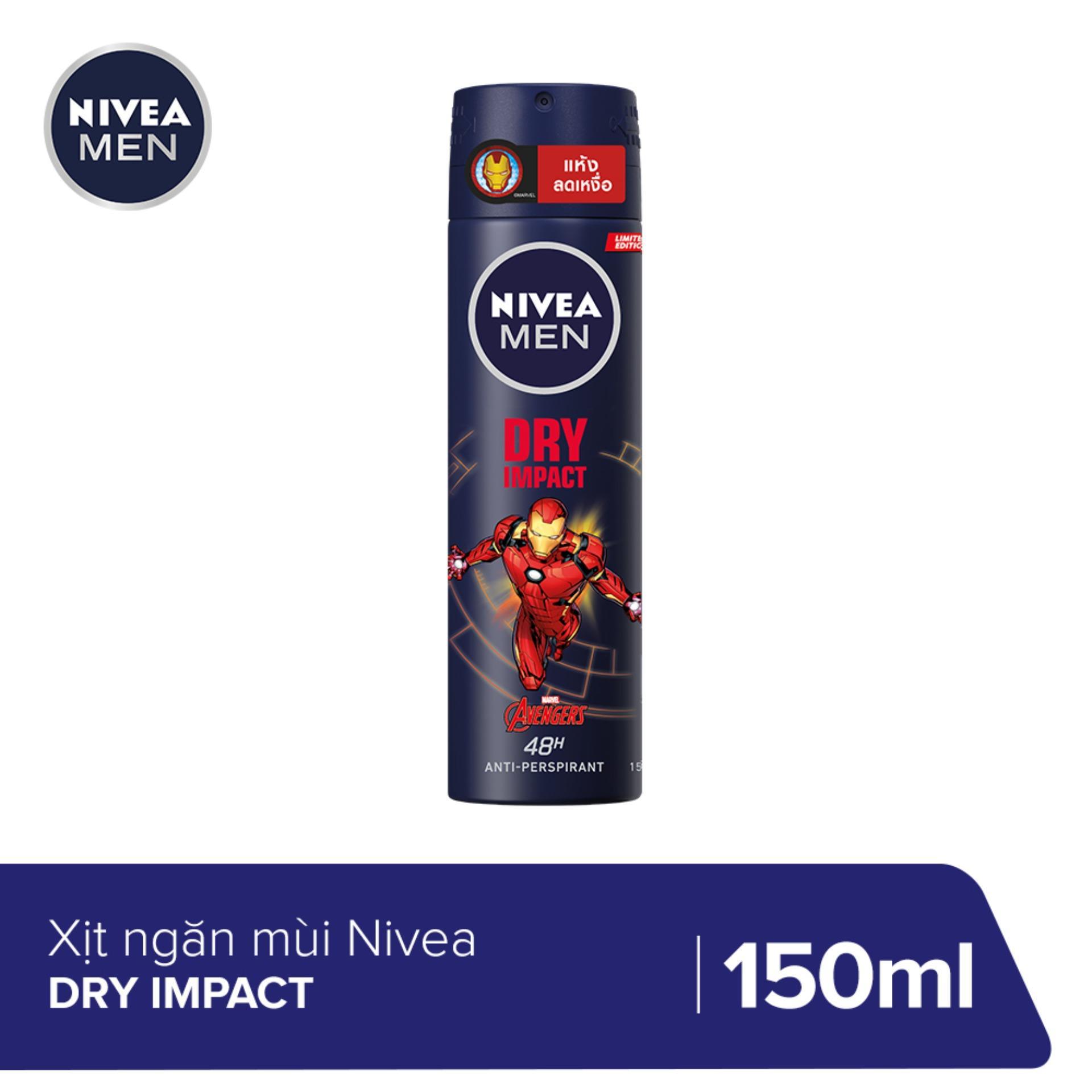 Xịt ngăn mùi NIVEA MEN Dry Impact Khô Thoáng Tức Thì (150ml) - 81602 (Phiên bản giới hạn Iron Man) nhập khẩu