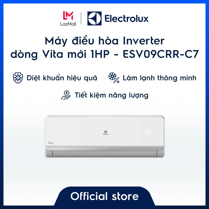[Miễn phí giao hàng HCM & HN] Máy điều hòa Electrolux Inverter 1HP 9000BTU ESV09CRR-C7 – Màu trắng - Thiết kế châu Âu - Lọc khí trong lành - Hạn chế vi khuẩn - Tiết kiệm điện – Hàng chính hãng