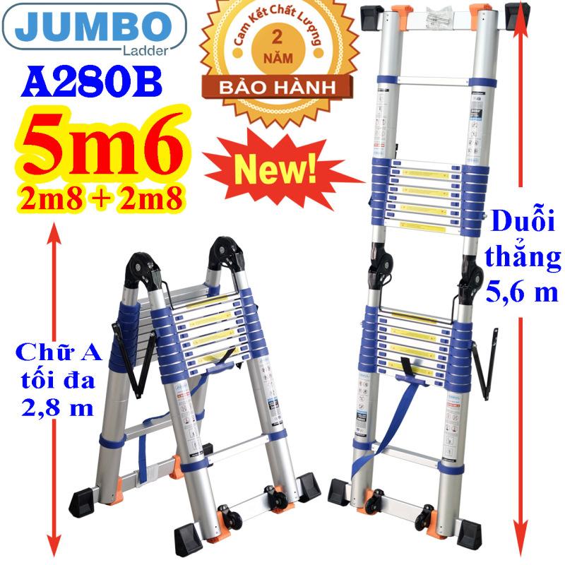 Thang nhôm rút đôi Jumbo A280B NEW 2021 - Chữ A 2,8m duỗi thẳng 5,6m Đai xanh - tải trọng 300kg