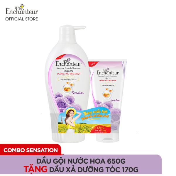 Dầu gội nước hoa Enchanteur Sensation dưỡng tóc siêu mượt 650gr - tặng Dầu xả dưỡng tóc 170gr SMP