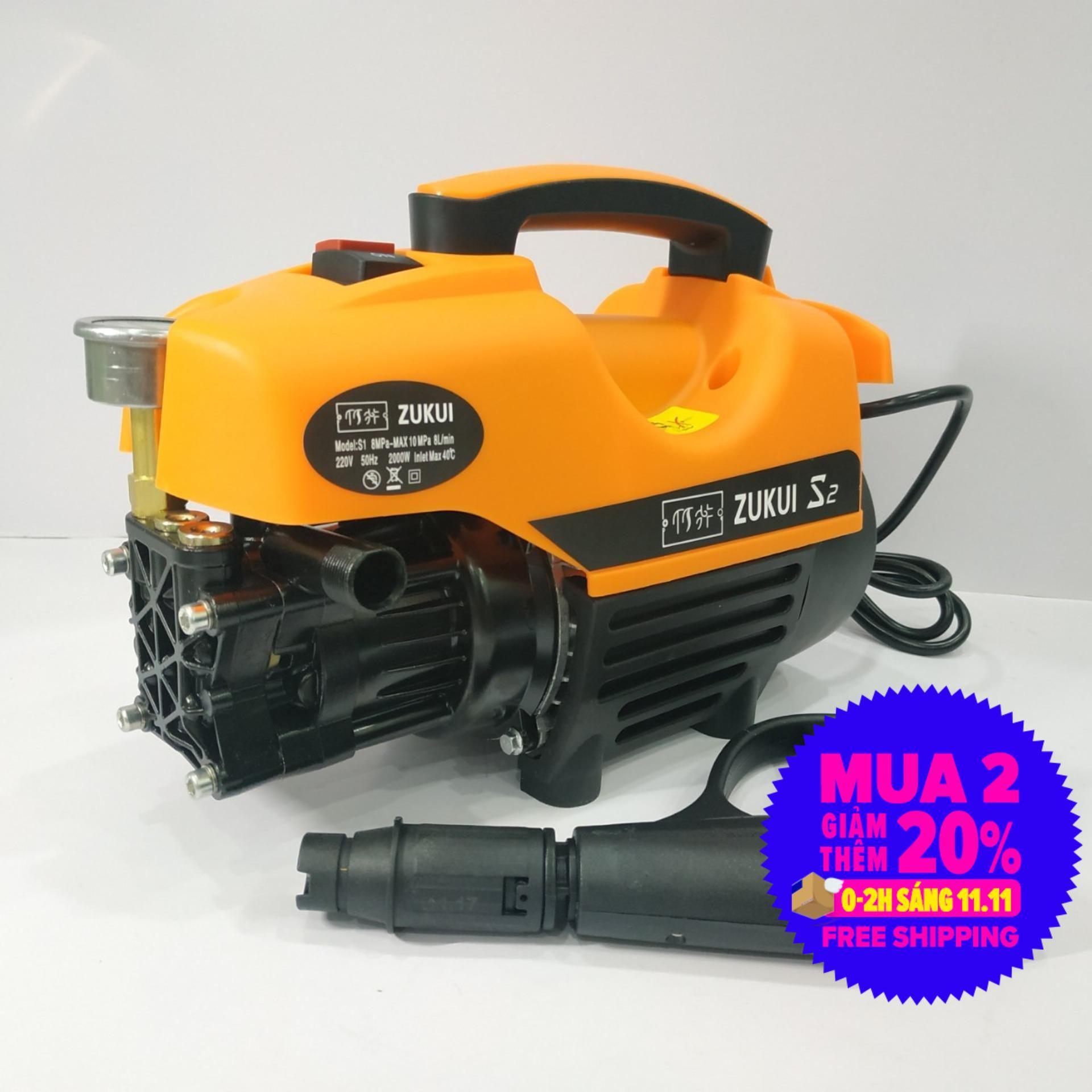 Offer Khuyến Mại Máy Xịt Rửa Mini -  Máy Rửa Xe Zukui S2 - 2000W -  Motor Từ- Tự Hút Nước - Có Video