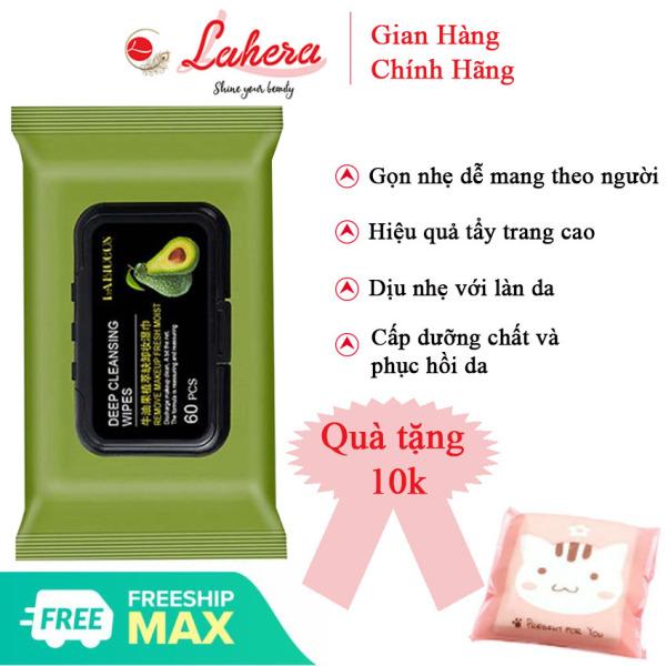 Khăn ướt tẩy trang tinh dầu bơ Llahera TQMP01 thơm dịu, sạch sâu, nhẹ nhàng với da mặt, tặng kèm bông tẩy trang bỏ túi 10K