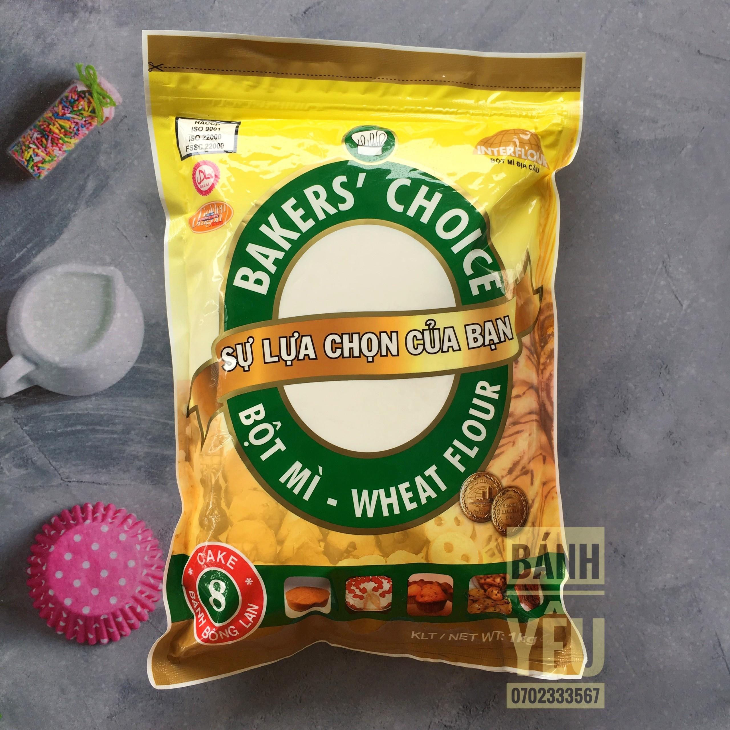 Bột Mì Số 8 Bakers Choice 1kg được sử dụng cực kì phổ biến trong làm bánh làm bánh mềm và xốp