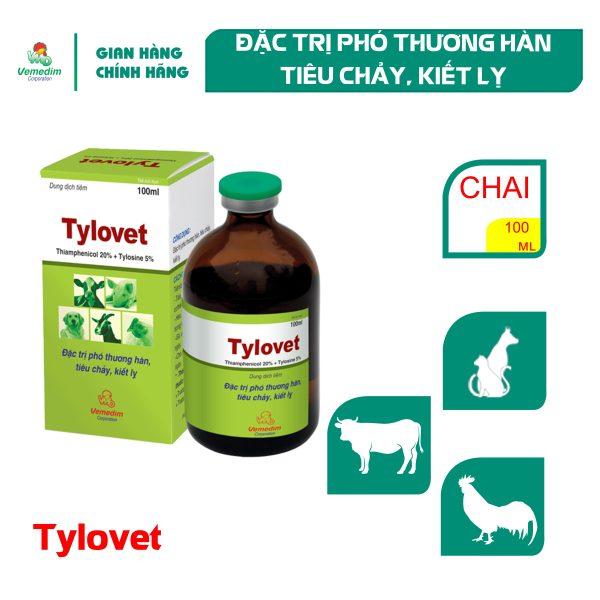 Vemedim Tylovet dùng tiêm bắp phòng tiêu chảy cho chó, mèo, chai 100ml