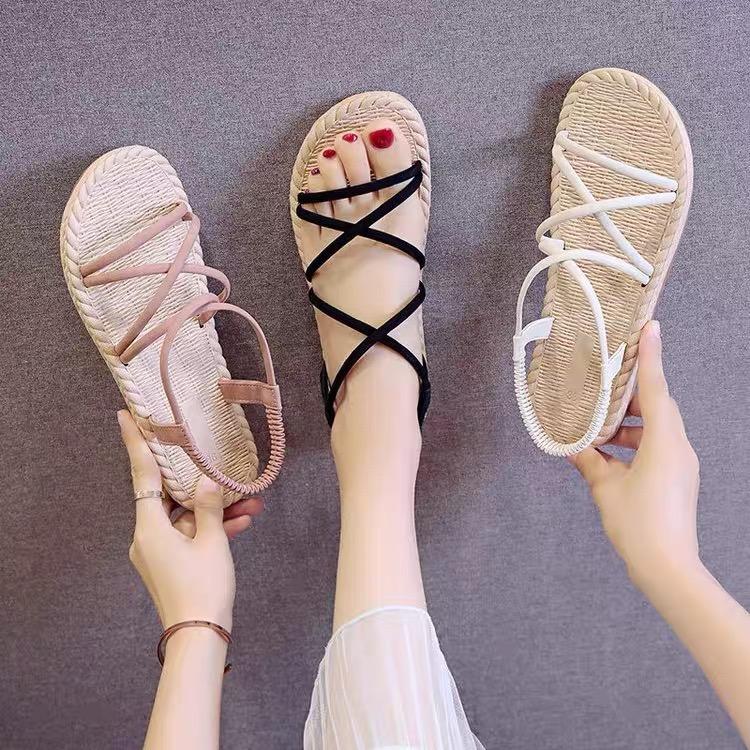 Deal Giảm Giá Giày Sandal Nữ Quai Chéo Đế Giả Cói Đi Mưa  (Màu Ngẫu Nhiên) - GL002