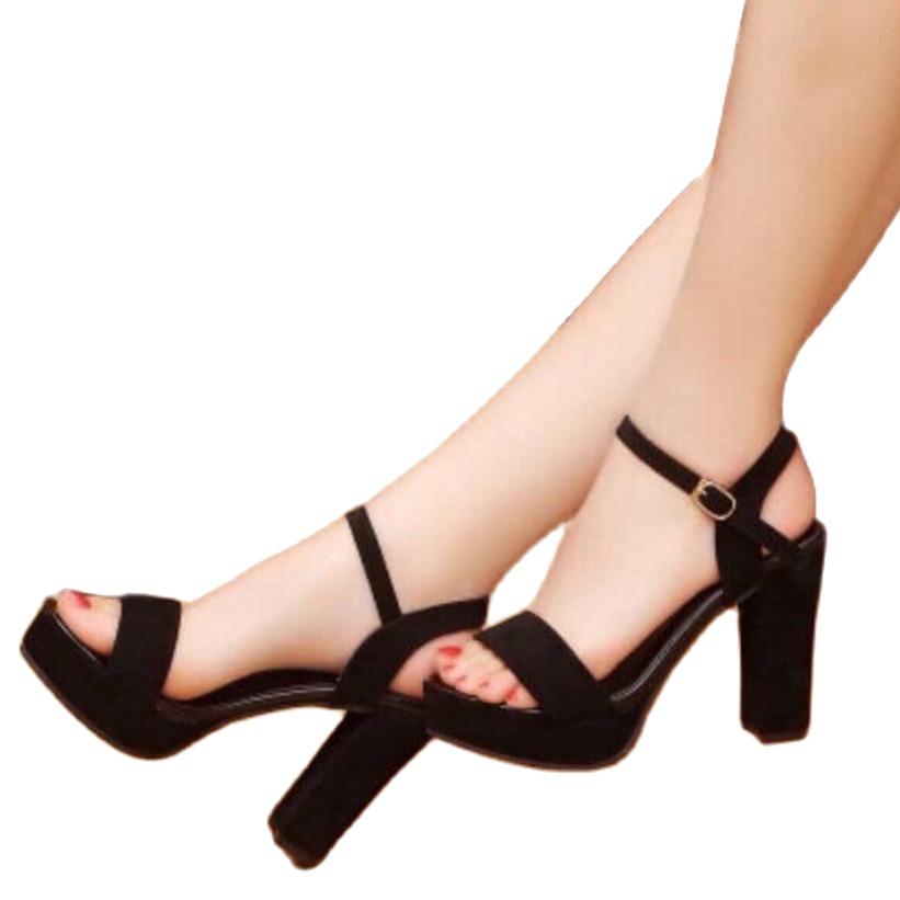 Giày Cao Gót Đúp 12p Bản Ngang Hở Gót LZ053 giá rẻ