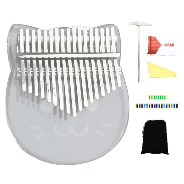 17 Keys Kalimba Thumb Piano Transparent Acrylic Keyboard Instrument with Hammer for Beginners Children Girl Kids
