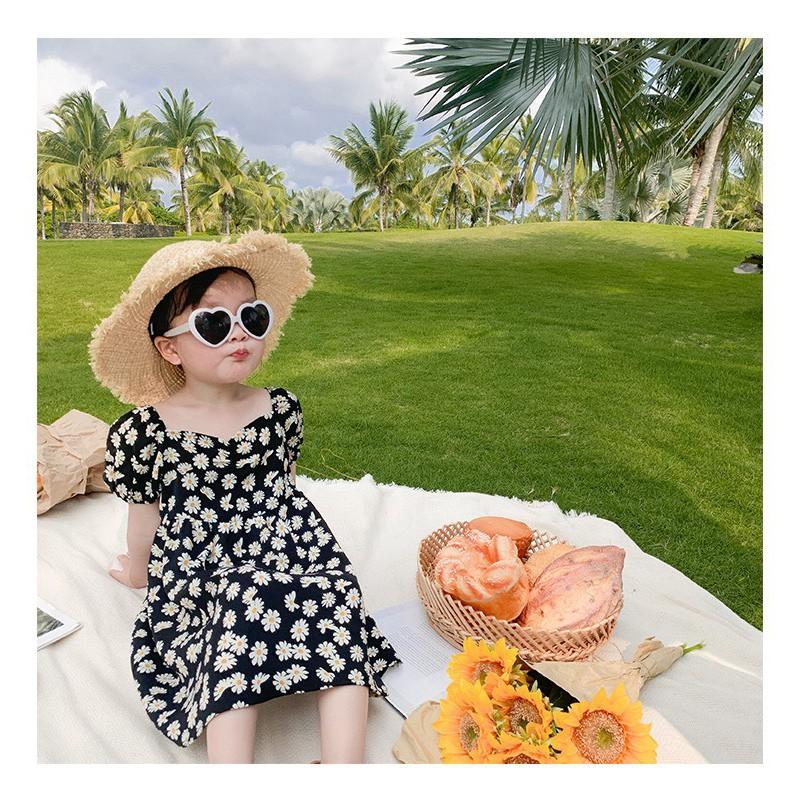 Coupon tại Lazada cho Váy Bé Gái HOA CÚC Bánh Bèo, VẢI LỤA Mềm Mịn, đẹp Cho Bé Từ 1-5 Tuổi
