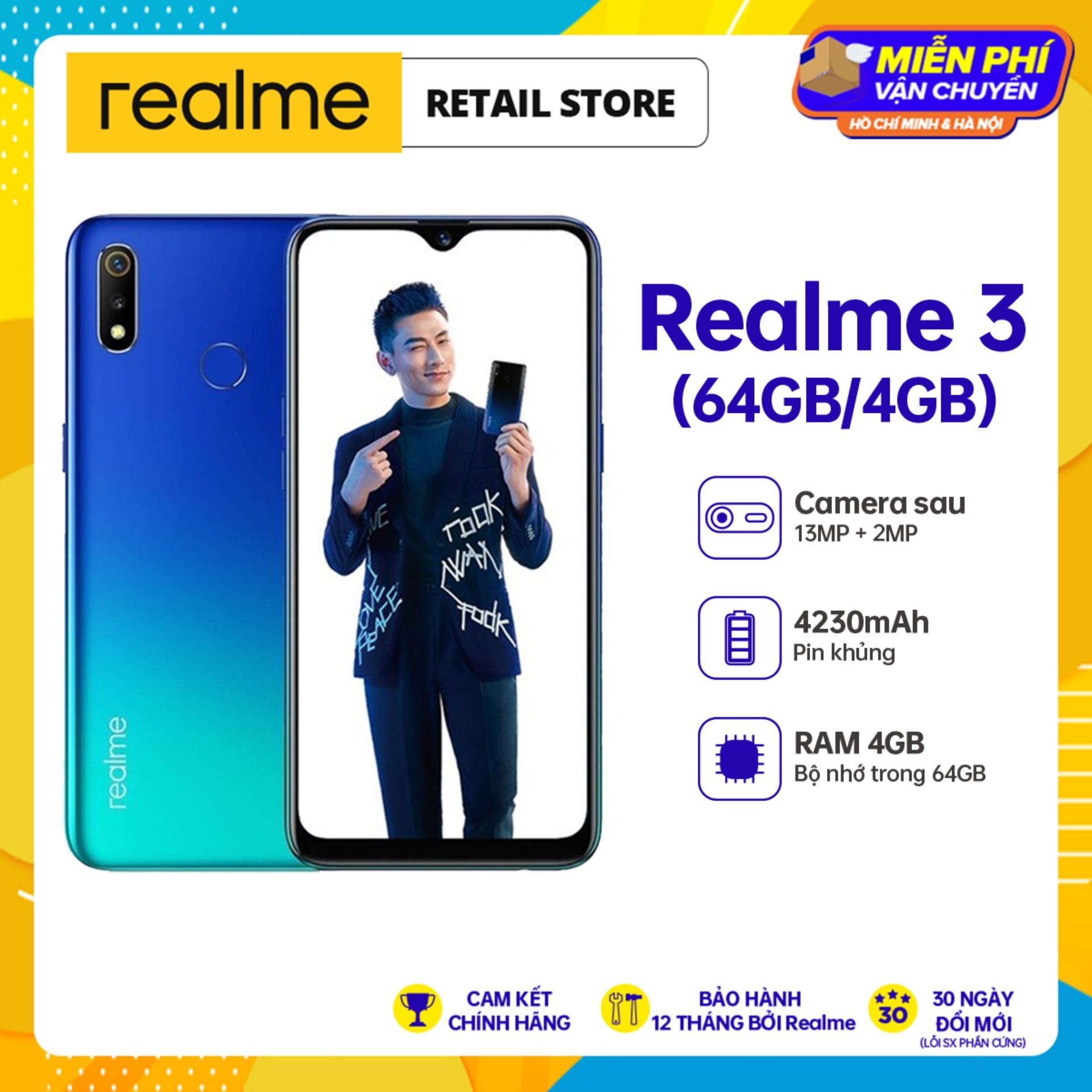 BẢO HÀNH 12 THÁNG Điện Thoại Realme 3 (4GB/64GB) - Camera sau kép 13MP+2MP Camera trước 13MP Pin 4230mAh 2 SIM Nano - Hàng Chính Hãng