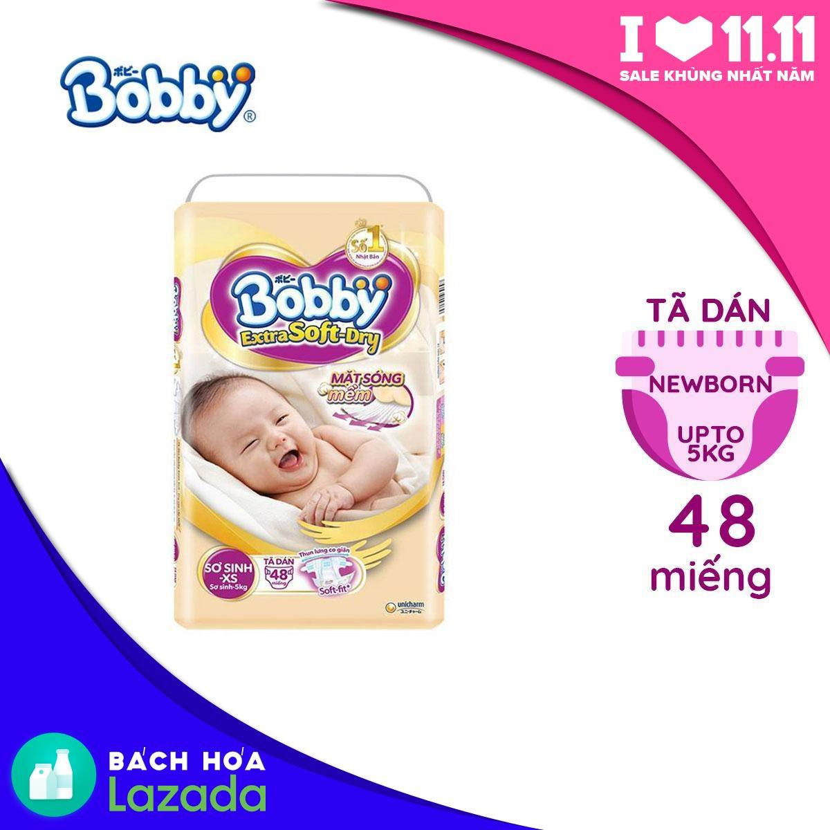 Tã/Bỉm dán sơ sinh cao cấp siêu mềm Bobby Extra...