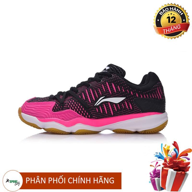 Bảng giá Giày cầu lông nữ Lining AYTM078-1 êm chân màu đen hồng, full box, chuyên nghiệp, nhẹ - giày bóng chuyền nữ -  giày thể thao nữ