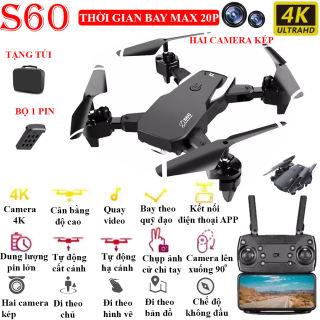 TẶNG TÚI ĐỰNG + BỘ 2 PIN - Flycam mini 4K, Flycam 4k giá rẻ - Flycam S60 Camera 4K hai camera kép, thời gian bay 20 phút, camera lên xuống 90 độ, chụp ảnh cử chỉ tay - đi theo chủ và bay theo bản đồ - BẢO HÀNH 1 ĐỔI 1 3 THÁNG