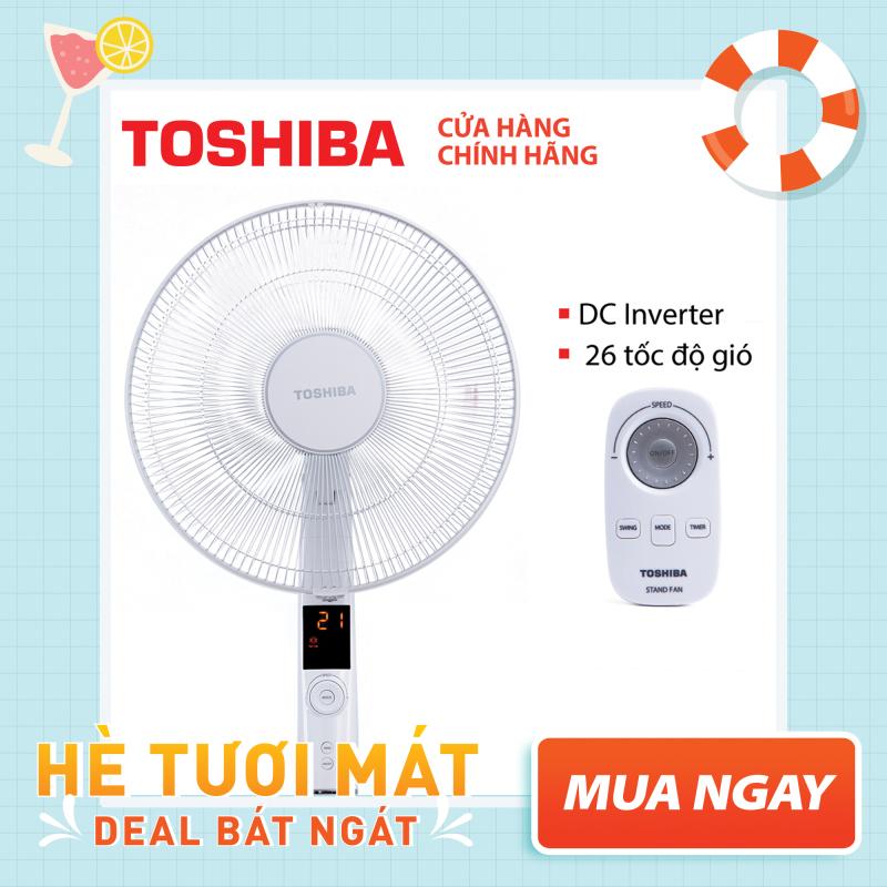 QUẠT ĐỨNG TOSHIBA F-LSD30(W)VN - Điều khiển từ xa núm xoay vô cực - 9 cánh - DC inverter tiết kiệm điện 70% - 26 tốc độ gió - Vận hành siêu êm - Màn hình LED hiển thị - Hàng chính hãng, bảo hành 12 tháng