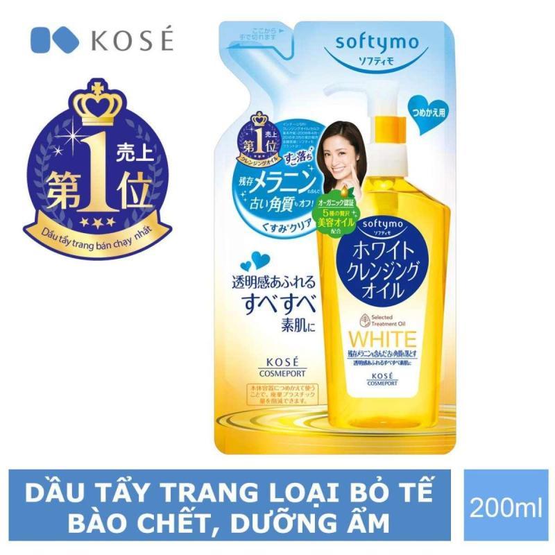 Túi Refill Dầu Tẩy Trang dưỡng da trắng sáng màu vàng nhạt dành cho da khô dạng Kosé Cosmeport Softymo White Cleansing Oil Refill 200ml