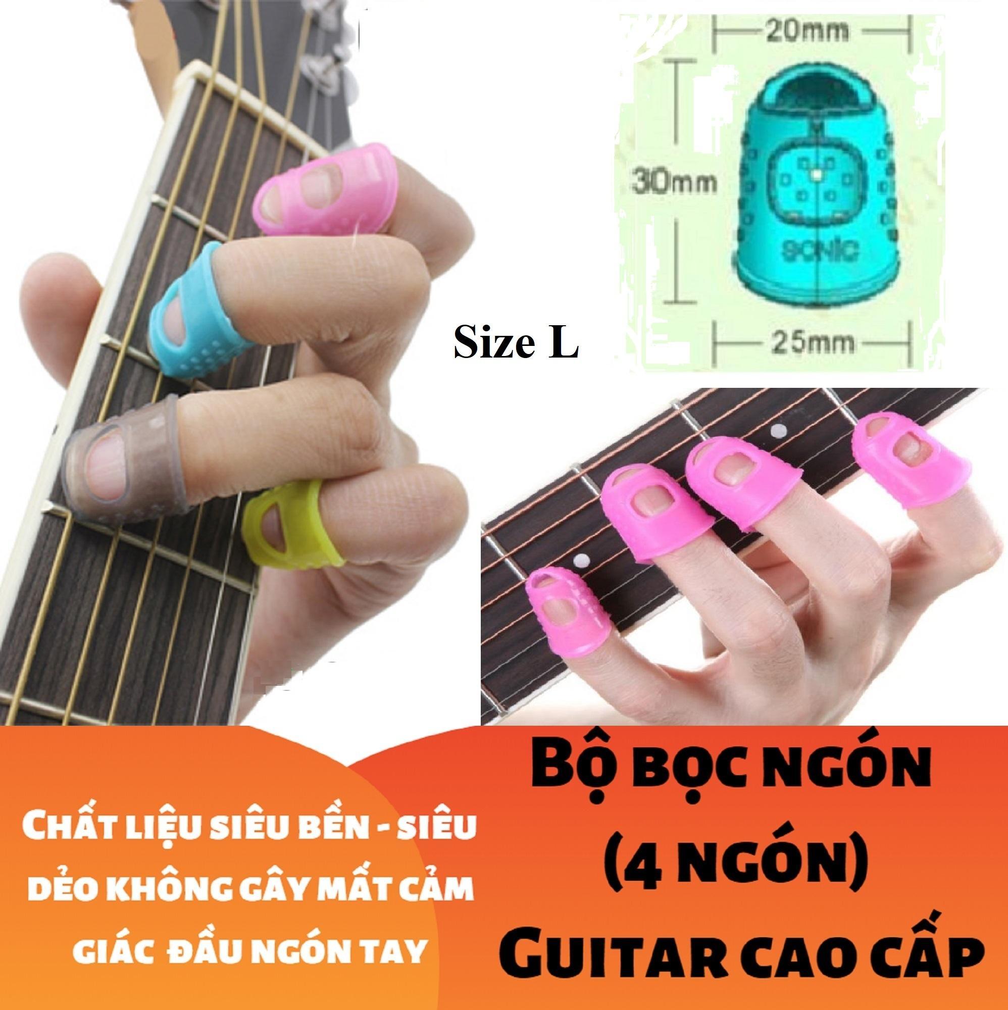 Deal tại Lazada cho (Size L) Bộ 4 Cái Bao, Bọc đầu Ngón Tay Cao Cấp Chống đau đủ Màu Tím Xanh Vàng Trắng Xám Hồng - Guitar - Ghi-ta - Violin - Ukulele - Mandolin - Bảo Vệ đầu Ngón Tay