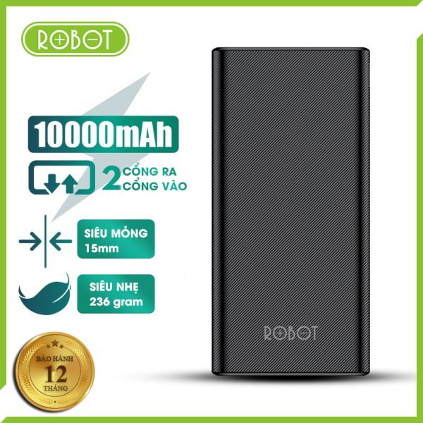 [Bảo hành 12 tháng 1 đổi 1] Pin sạc dự phòng Robot RT170 10000mAh thiết kế nhỏ gọn 2 cổng sạc ra USB và 2 cổng sạc vào Micro Type-C bề mặt vân nhám chống trơn trượt