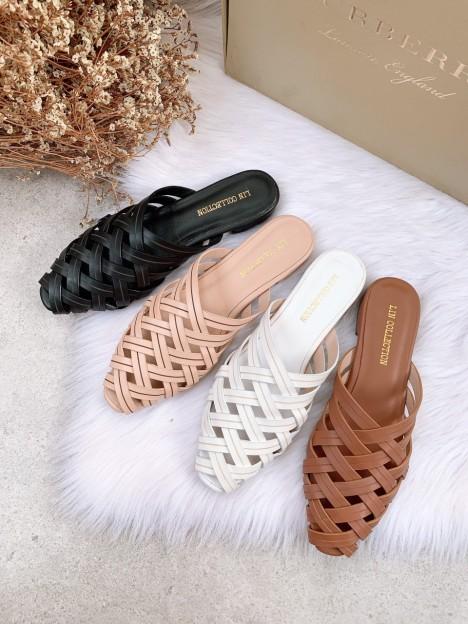 Giày Sục da lì dây tua đan dọc MANZU gót tròn 5 phân giá rẻ