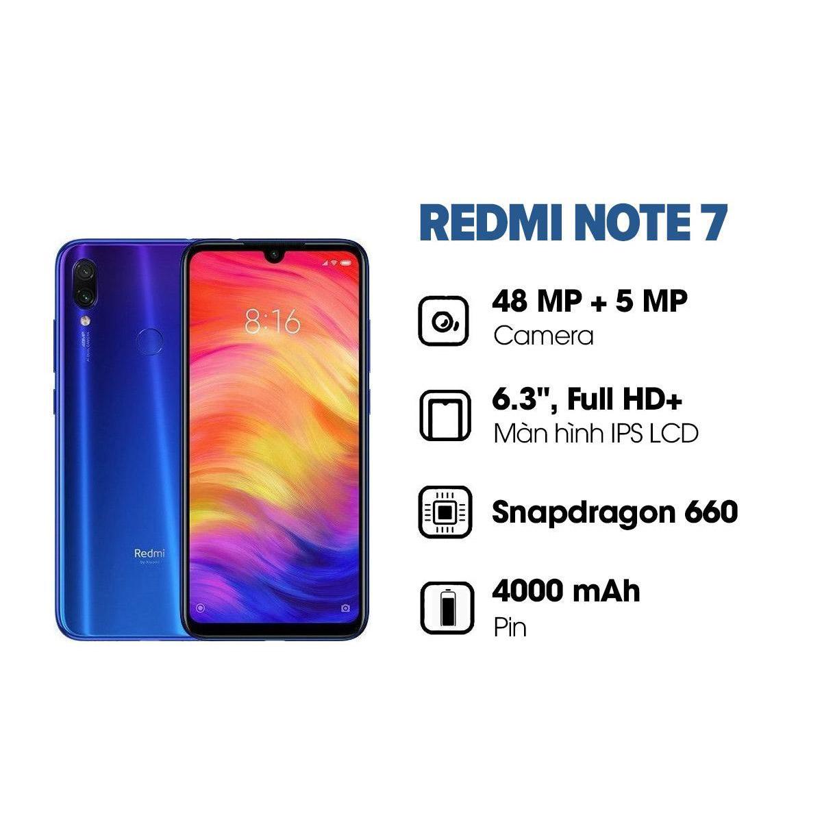Bảo hành chính hãng 18 tháng | Điện thoại Xiaomi Redmi Note 7 (3GB/32GB) Chip Qualcomm Snapdragon 660 8 nhân Camera 48 MP - Hàng chính hãng